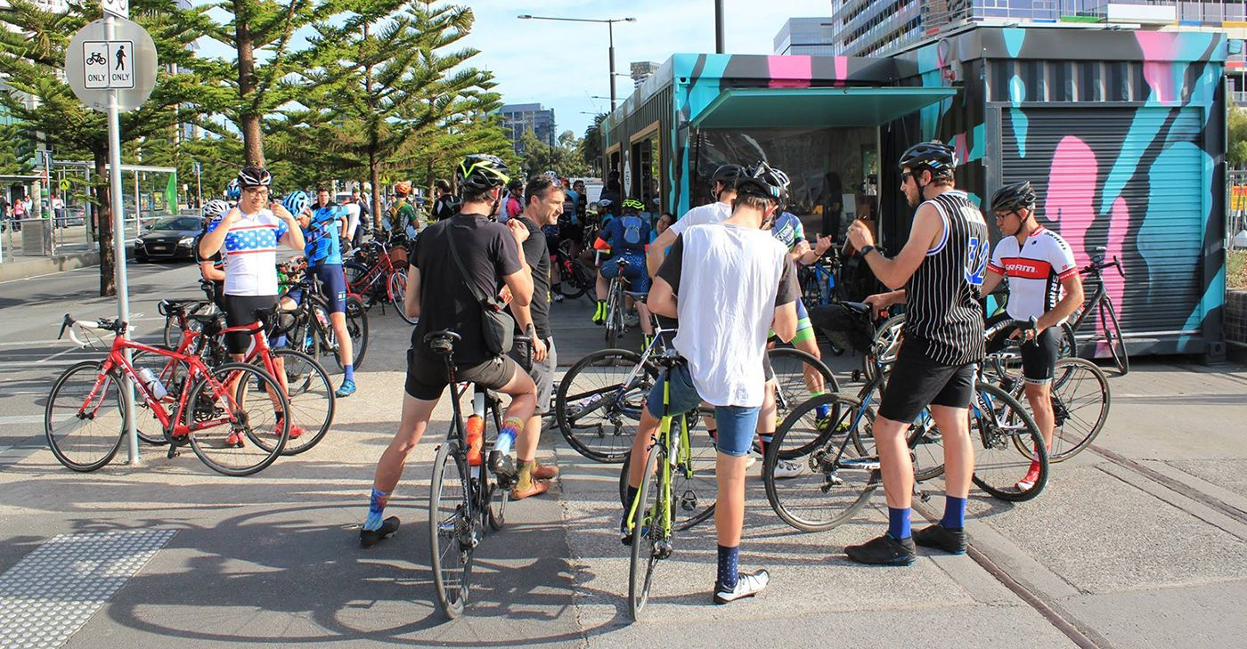 Group of cyclists at Good Cycles Bike Hub.