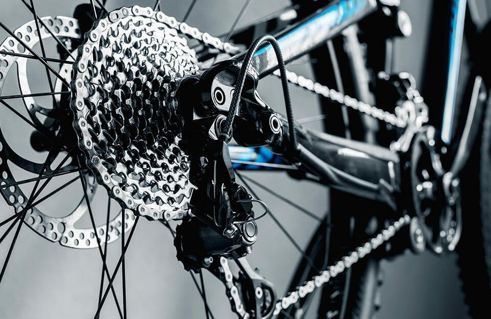 Close up of bike drivetrain.