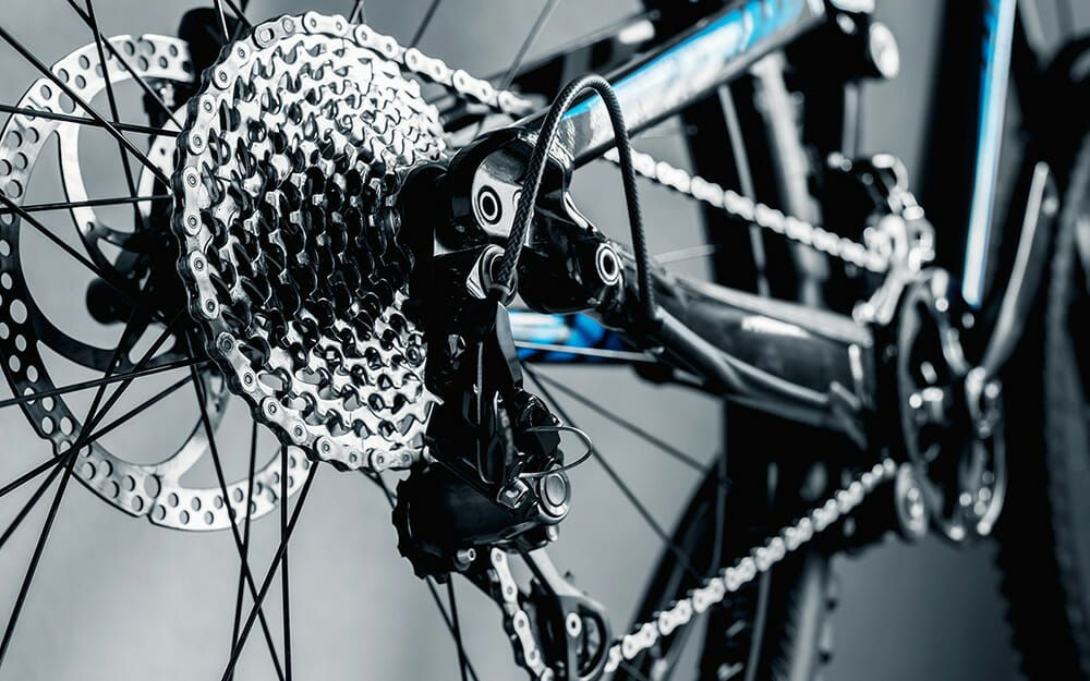 Close up of bike drivetrain.