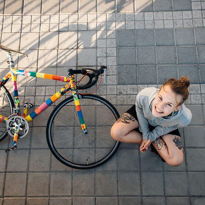 Woman with bike.