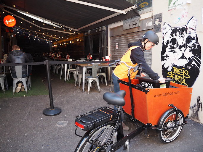 Good Cycles collecting organic waste in Degraves Street Melbourne