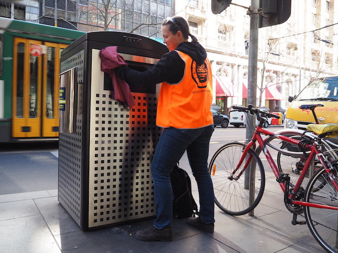 Good Cycles maintaining a solar bin in Melbourne CBD
