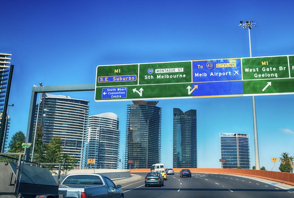 A freeway gantry in Melbourne.