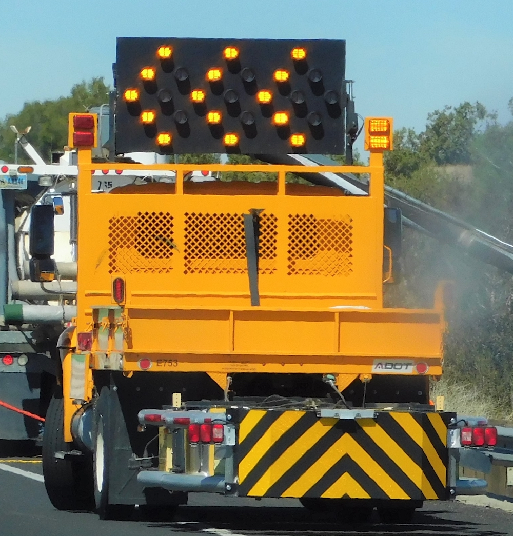 A Truck Mounted Attenuator (TMA) keeps the work team safe