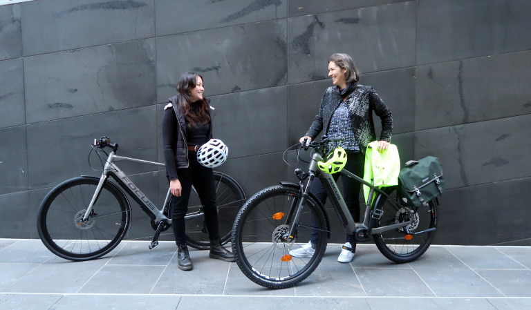 Jen and Kate with eBikes
